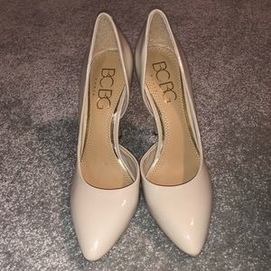 BCBG Light Beige/Nude Patent Pointy Toe Heels